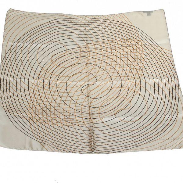 Dámska krémovo-šedá hodvábna šatka s potlačou špirál Gianfranco Ferré