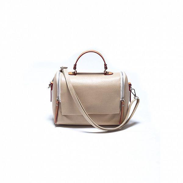 Dámska béžová kabelka Roberta Minelli s dvomi zipsami
