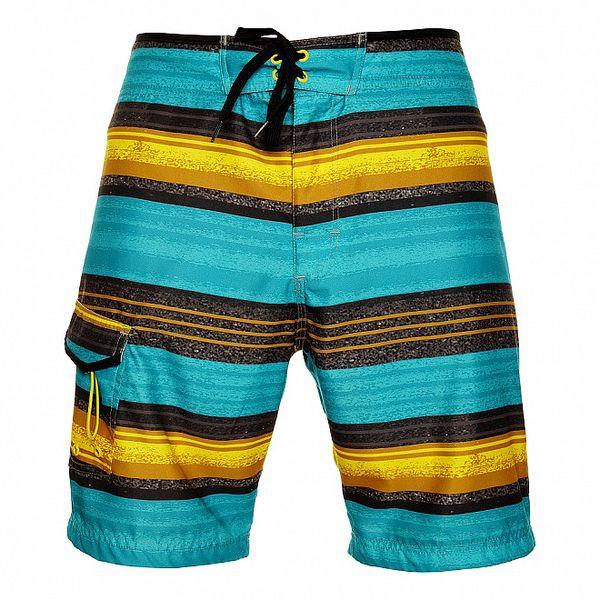 Pánske žlto-tyrkysové pruhované krátke nohavice Fundango