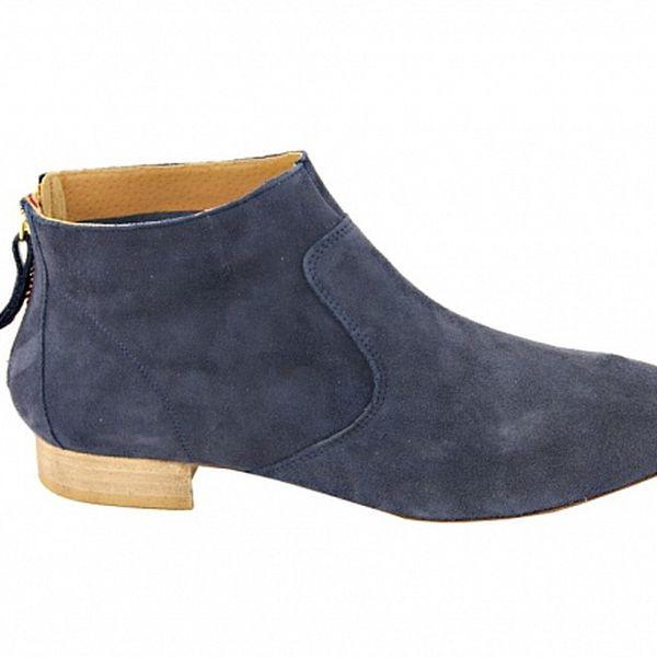 Dámske šedo-modré semišové kotníčkové topánky na zips Eye