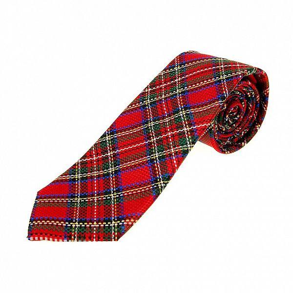 Pánska červená kravata Moschino so škótskym kockovaným vzorom a modrými detailmi