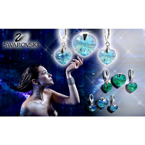 Luxusní souprava Swarovski srdíčka v 15 barvách