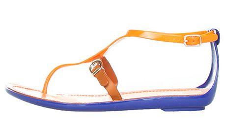Modro-oranžové řemínkové žabky