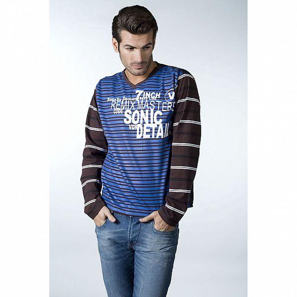 Pánské modro-hnědé proužkované tričko CLK
