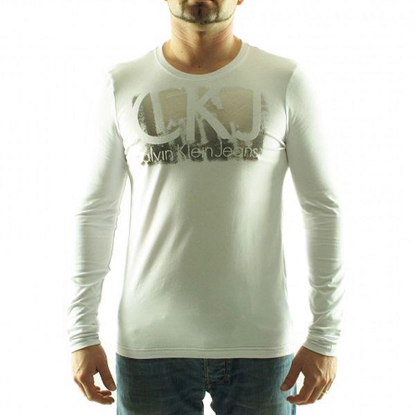 Pánské bílé tričko Calvin Klein se stříbrným potiskem