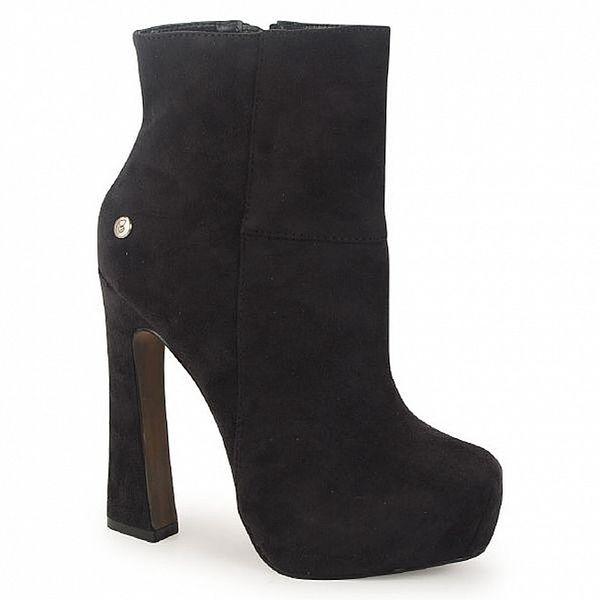 Dámské černé semišové kotníčkové boty na atypickém podpatku Blink