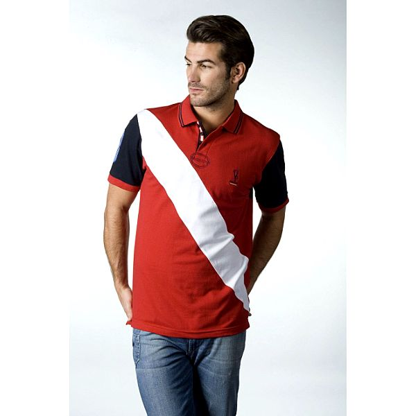 Pánske červeno-biele pólo CLK s logom