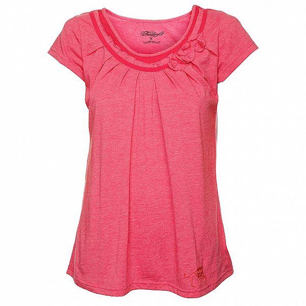 Dámské růžové tričko s řasením Fundango
