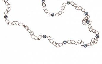 Dámsky strieborný náhrdelník Arla s modrými perlami
