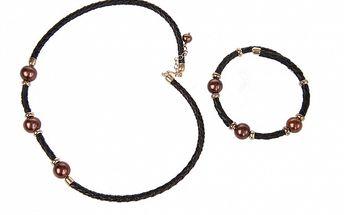 Darčekový set Arla - kožený náhrdelník a náramok s hnedými perlami
