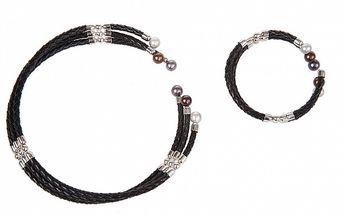 Darčekový set Arla - kožený náhrdelník a náramok s perlami