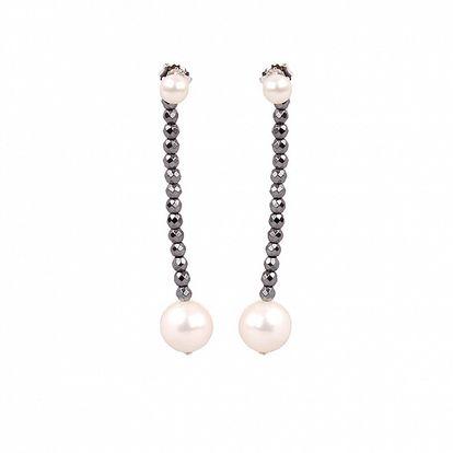 Dámske perlové náušnice Arla s hematitovými kamienkami