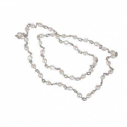 Dámsky strieborný náhrdelník Arla s bielymi perlami