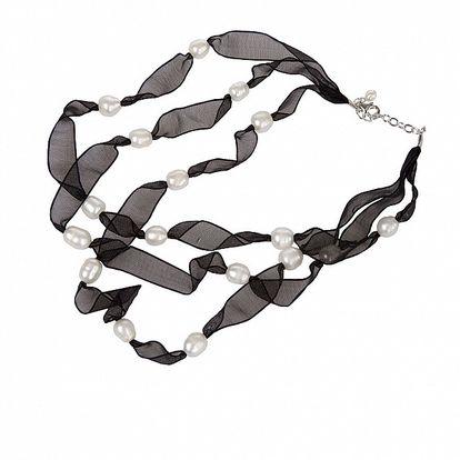 Dámsky čierny hodvábny náhrdelník Arla s bielymi perlami