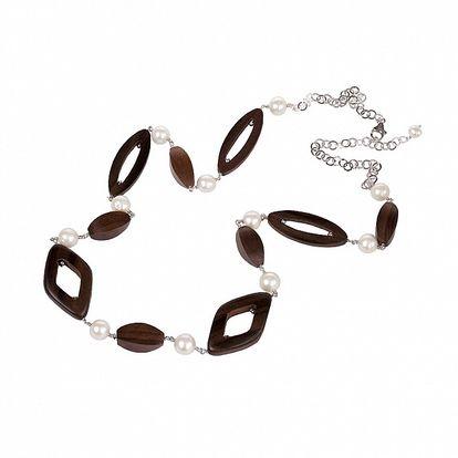 Dámsky náhrdelník Arla s perlami a drevenými korálkami