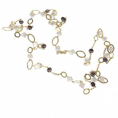 Dámsky zlatý náhrdelník Arla s bielymi a čiernymi perlami