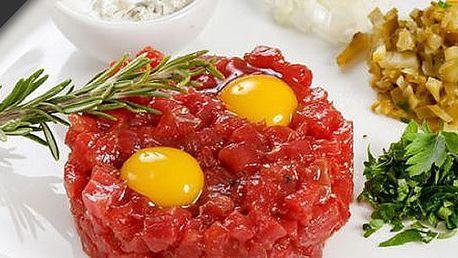 Luxusní 400g pravý tatarák, neomezené množství topinek a úžasná cena 199 Kč v restauraci Nagano 98. Vše s kuponem za 39 Kč!!
