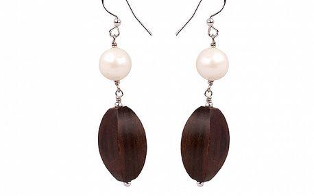 Dámske perlové náušnice Arla s drevenými kamienkami