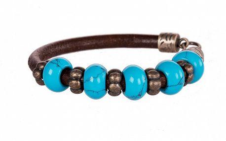 Dámsky tmavo hnedý kožený náramok Arla s modrými korálkami