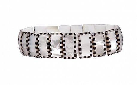 Dámsky perlový náramok Arla s čiernym šachovnicovým lemom