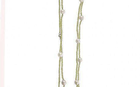 Dámsky peridotový náhrdelník Arla s bielymi perlami