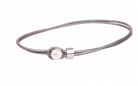 Dámský stříbrný kožený náhrdelník Arla s perlou