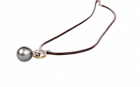 Dámský hnědý kožený náhrdelník Arla s černou perlou