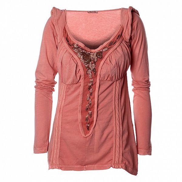 Dámské růžové tričko s dlouhým rukávem a korálkovou aplikací Angels Never Die