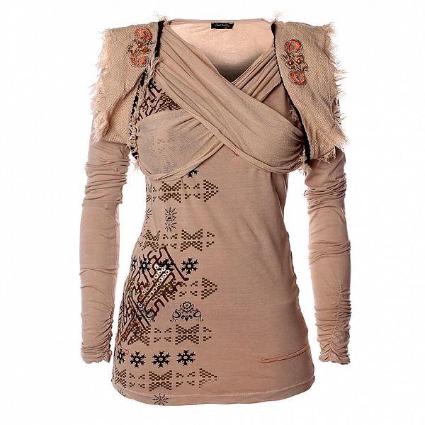 Dámske béžové tričko s aztéckou potlačou Angels Never Die