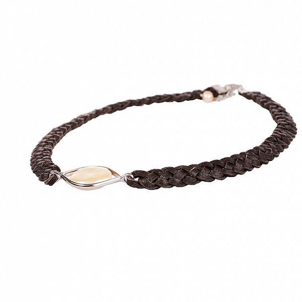 Dámský hnědý kožený náhrdelník Arla s perlovým kamínkem