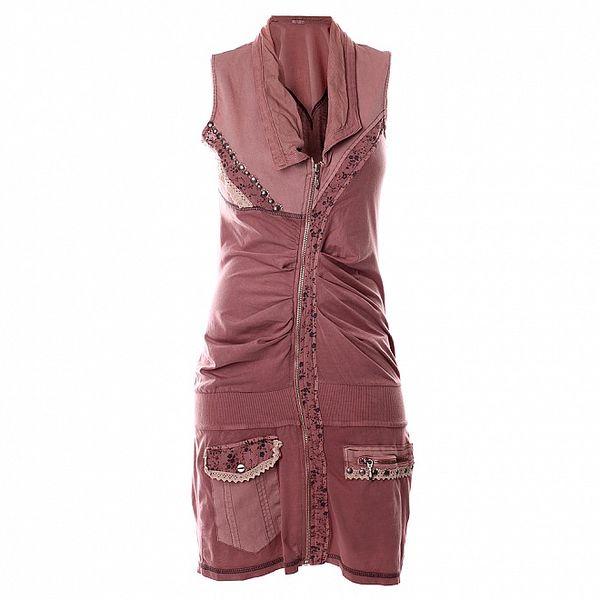 Dámske svetlo ružové košeľové šaty bez rukávov Angels Never Die
