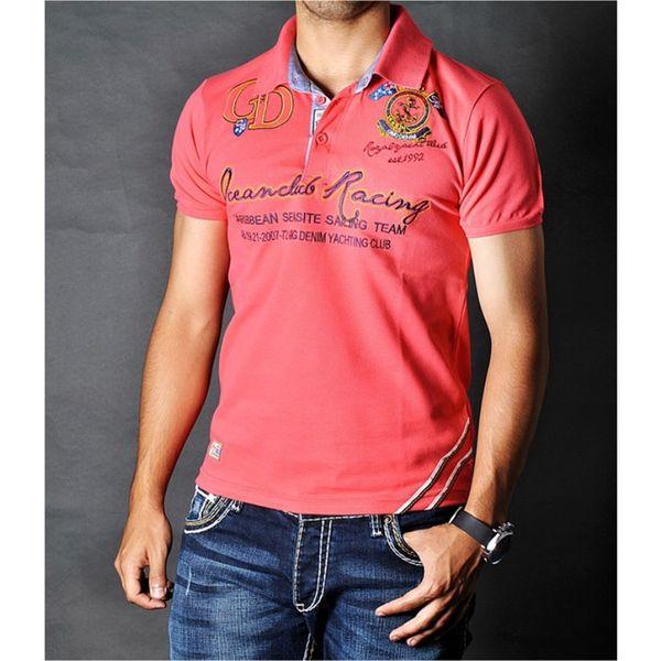 Pánské polo triko GMG Denim lososvě růžové s potiskem