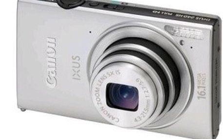 Stříbrný a tenký fotoaparát Canon IXUS 240 HS se systémem HS System