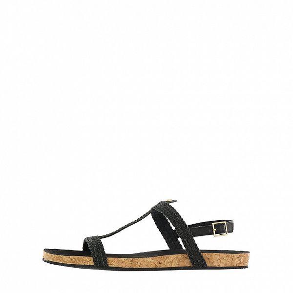 Dámske čierne kožené sandálky Flip Flop