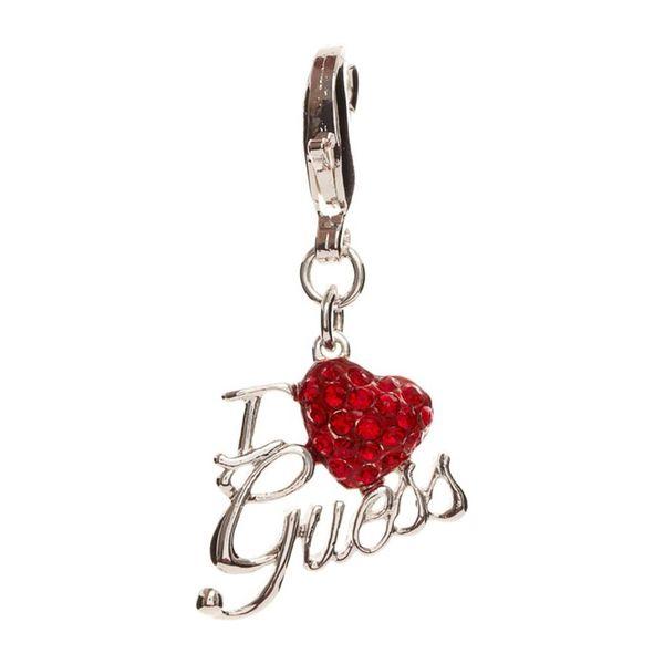 Přívěšek Guess stříbrno-červené logo