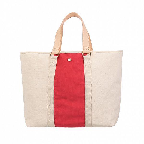 Dámska béžovo-červená canvas kabelka Flip Flop