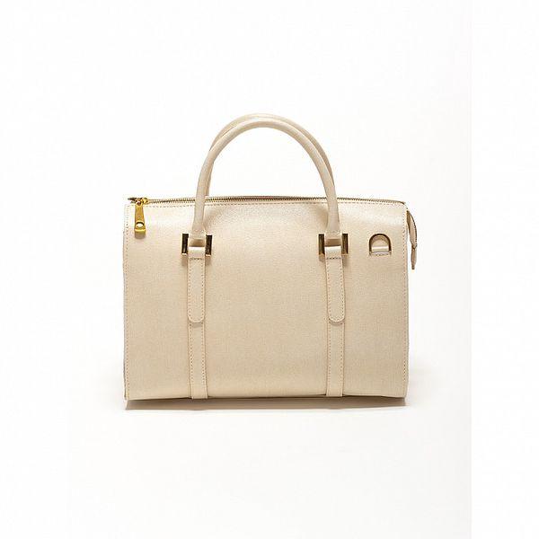 Dámská béžová kožená retro kabelka se zlatými detaily Renata Corsi