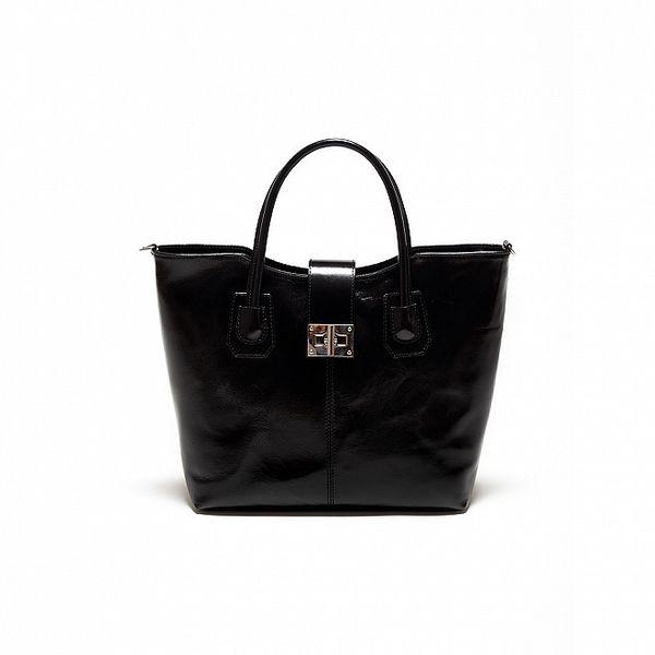 Dámská černá kožená kabelka se stříbrným zámečkem Renata Corsi