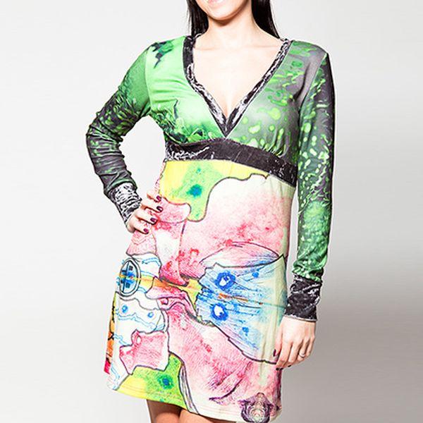Barevné šaty s výstřihem do V