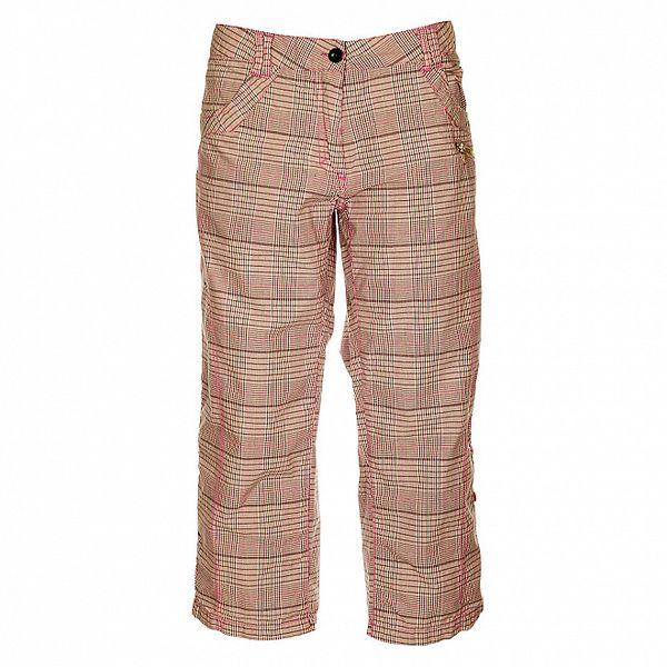 Dámské růžovo-šedé kostkované capri kalhoty Loap