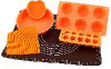 Sada na pečení - obsahuje podložku, silikonový vál a čtyři silikonové formy na pečení v oranžové barvě