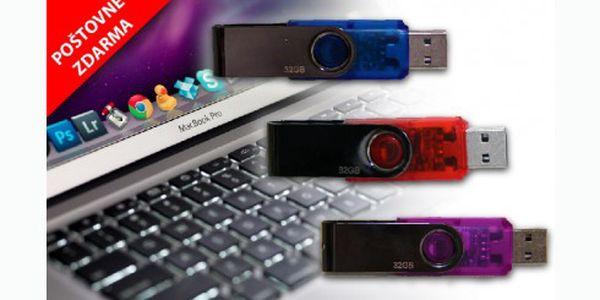 USB flash disk 32 GB za 299 Kč včetně poštovného. Výborný a rychlý pomocník pro práci s počítačem pro přenos a úchovu dat bez nutnosti instalace ovladačů.