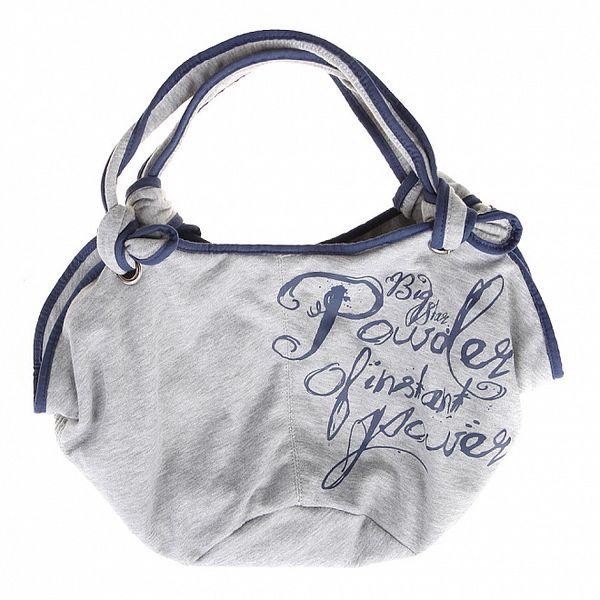 Dámska šedivá kabelka Big Star s modrou potlačou
