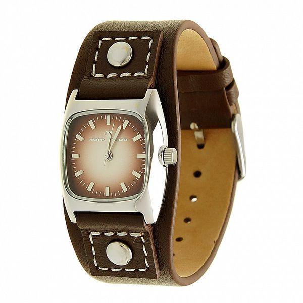 Dámske čierne analogové hodinky s koženým remienkom a vínovým ciferníkom Tom Tailor