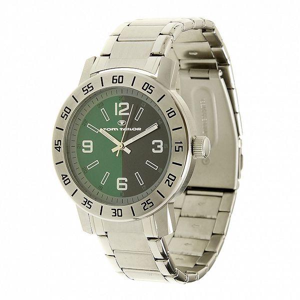 Ocelové analogové unisexové hodinky so zeleným ciferníkom Tom Tailor