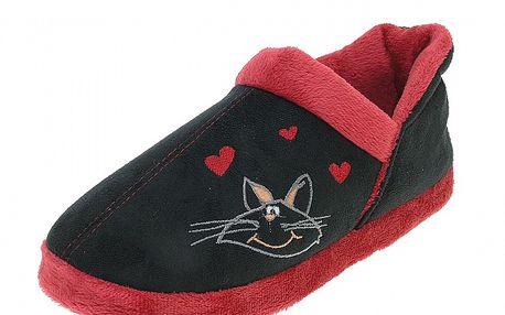 Dámské černé bačkory Beppi s červeným lemem a kočkou