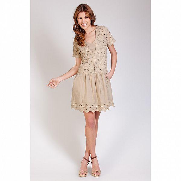 Dámske béžové čipkové šaty Tonala