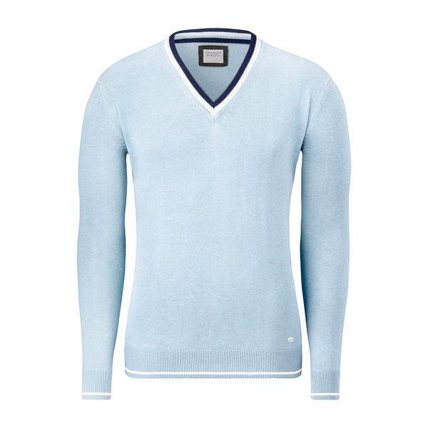 Pánský svetr Vincenzo Boretti bledě modrý výstřih do V