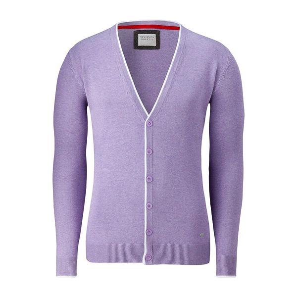 Pánský propínací svetr Vincenzo Boretti lila