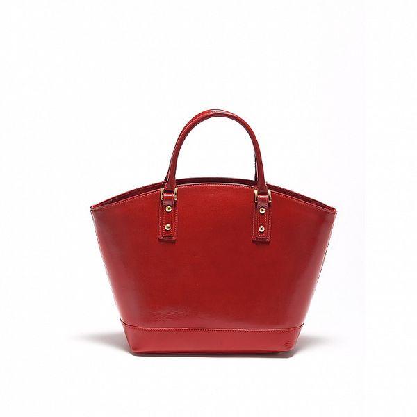 Dámska karmínovo červená kožená kabelka Carla Ferrari